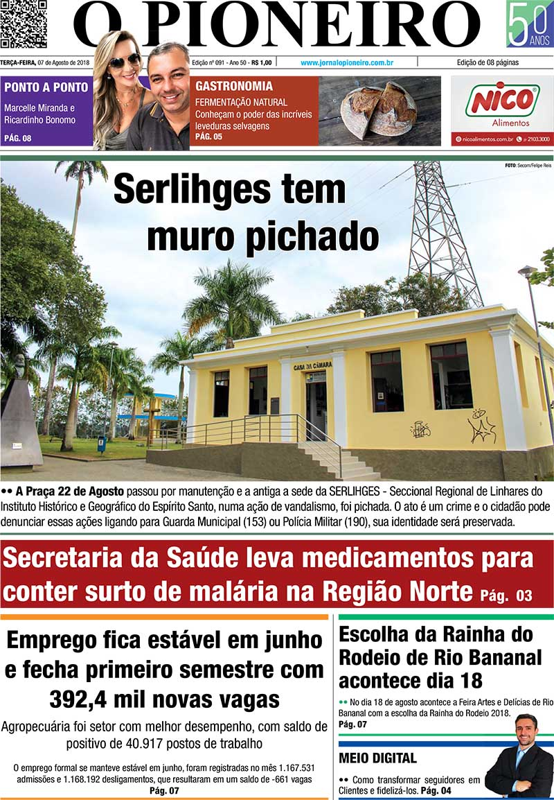 bef661501 Edição do Jornal O PIONEIRO Linhares 07 de agosto de 2018